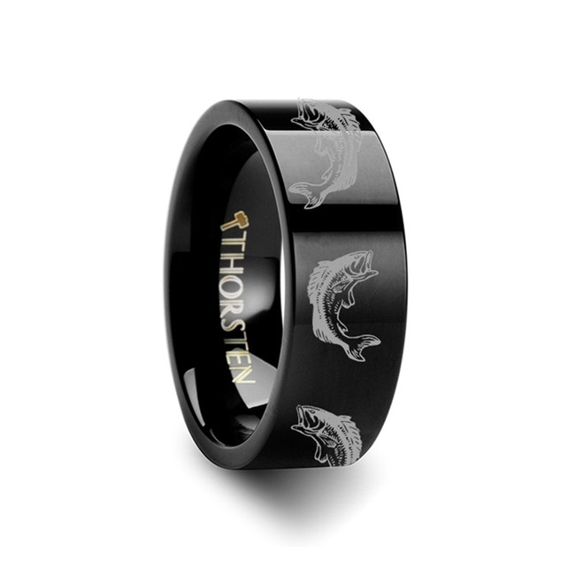 Melas Bass Fish Engraved Flat Black Tungsten Ring from Vansweden Jewelers