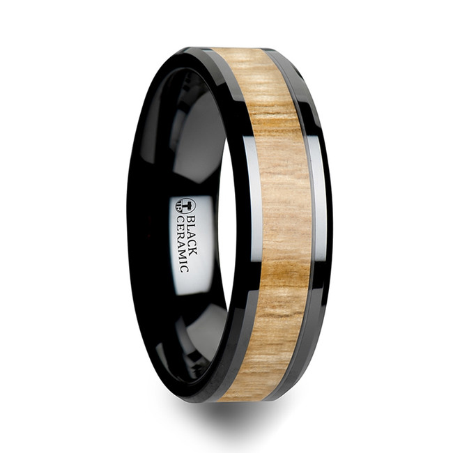 Antigone Black Ceramic Ring with Polished Bevels and Ash Wood Inlay from Vansweden Jewelers