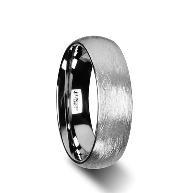 Abas Domed Tungsten Carbide Ring with Deep Texture Brushed Finish Design from Vansweden Jewelers