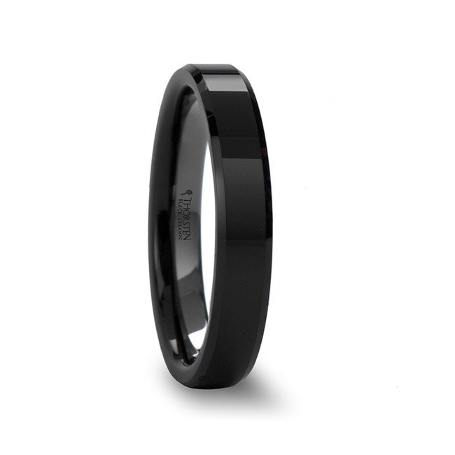 Cilla Beveled Black Ceramic Ring with Polished Finish from Vansweden Jewelers