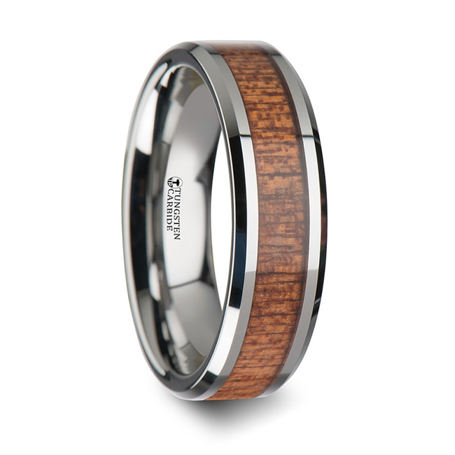 Aloeus Tungsten Wedding Band with Polished Bevels and African Sapele Wood Inlay from Vansweden Jewelers