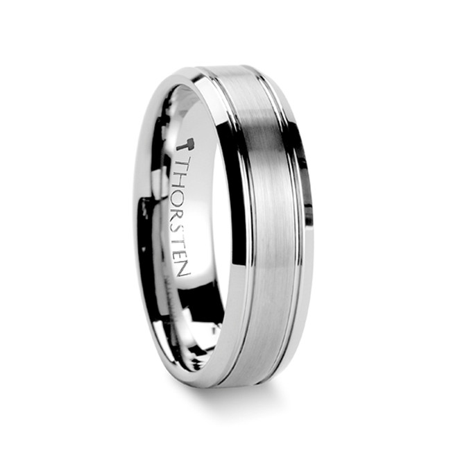 Eriopis Brushed Center Tungsten Wedding Carbide Ring with Polished Bevels from Vansweden Jewelers