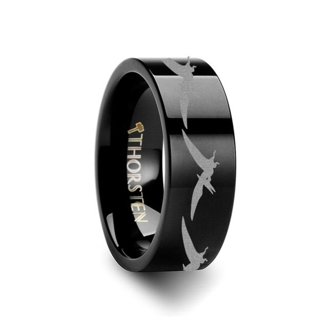Dictys Teradactyl Dinosaur Engraved Flat Black Tungsten Ring from Vansweden Jewelers