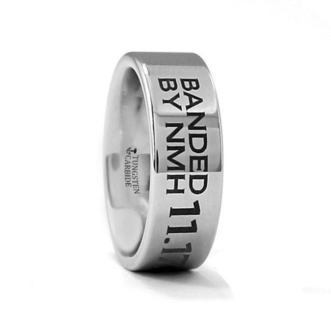 Biston Duck Band Engraved Flat Tungsten Ring from Vansweden Jewelers