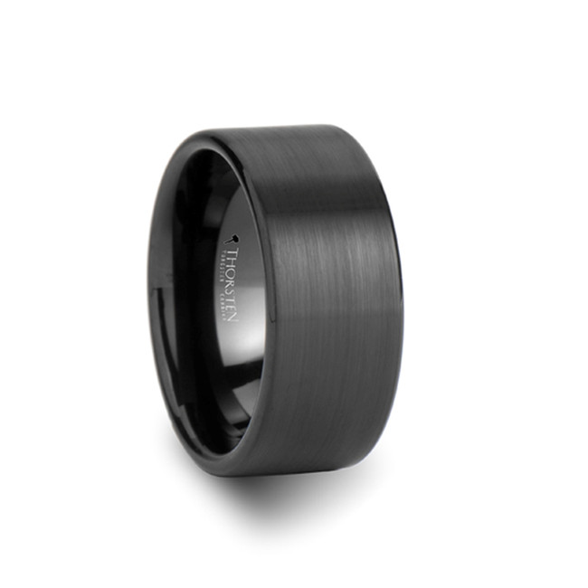 Clonius Pipe Cute Black Tungsten Carbide Ring with Brushed Finish from Vansweden Jewelers