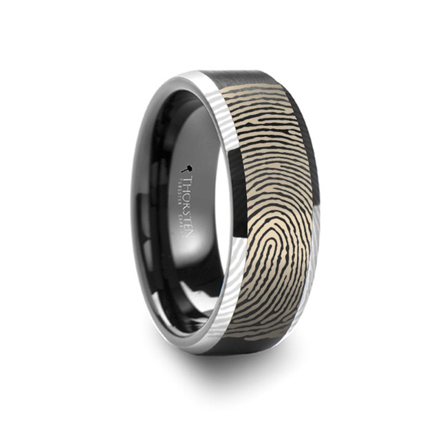 Buphagus Fingerprint Engraved Flat Black Tungsten Ring with Brushed Finish with Polished Beveled Edges from Vansweden Jewelers
