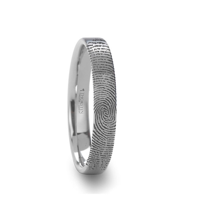 Euryalus Fingerprint Engraved Flat Pipe Cut Tungsten Ring Brushed Ring from Vansweden Jewelers