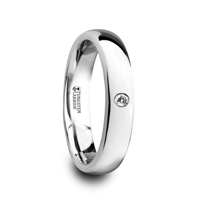 Acarnan Polished and Domed Tungsten Carbide Wedding Ring with White Diamond