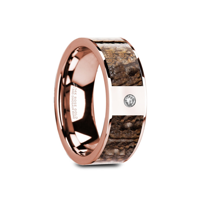 Evippus Flat Polished 14K Rose Gold Ring wtih Brown Dinosaur Bone & White Diamond from Vansweden Jewelers