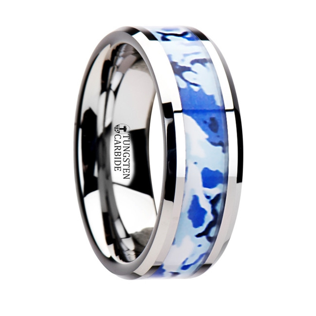 Praxithea Tungsten Wedding Ring with Blue and White Camouflage Inlay from Vansweden Jewelers