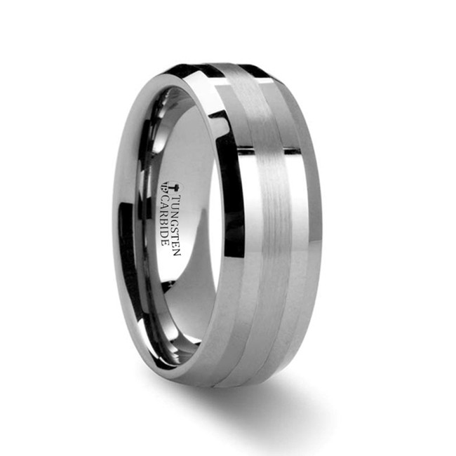 Phoenix Platinum Inlaid Beveled Tungsten Carbide Ring from Vansweden Jewelers
