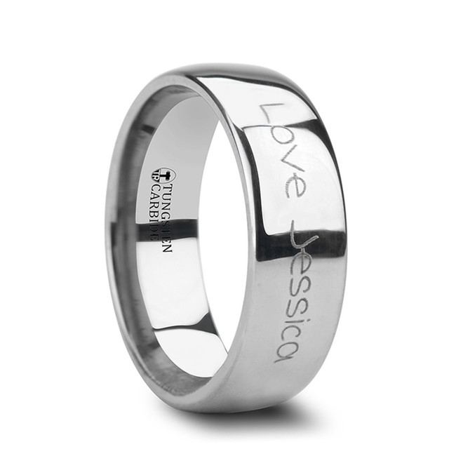 Peristhenes Handwritten Engraved Domed Tungsten Ring from Vansweden Jewelers