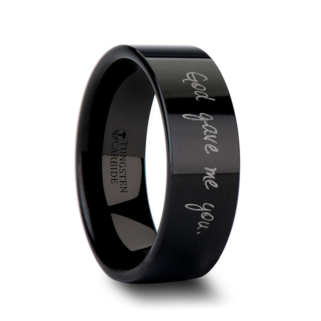 Leitus Handwritten Engraved Flat Pipe Cut Black Polished Tungsten Ring from Vansweden Jewelers