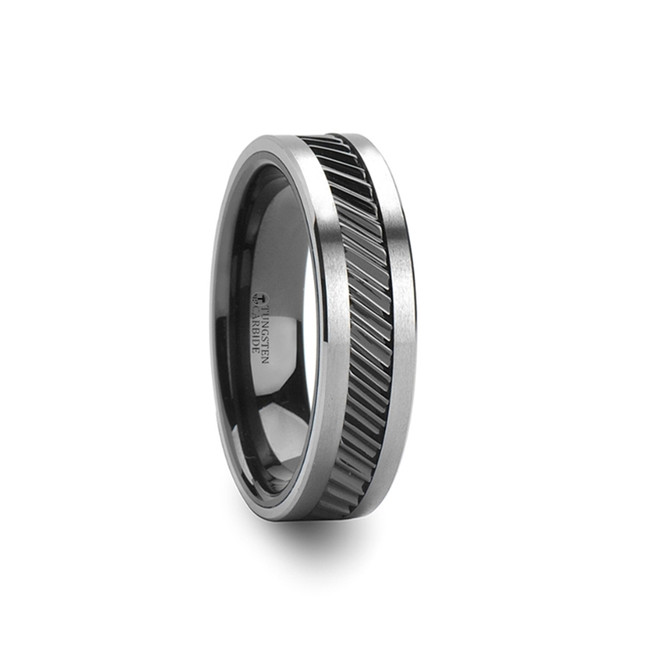 Chthonophyle Gear Teeth Pattern Black Ceramic and Tungsten Carbide Ring from Vansweden Jewelers