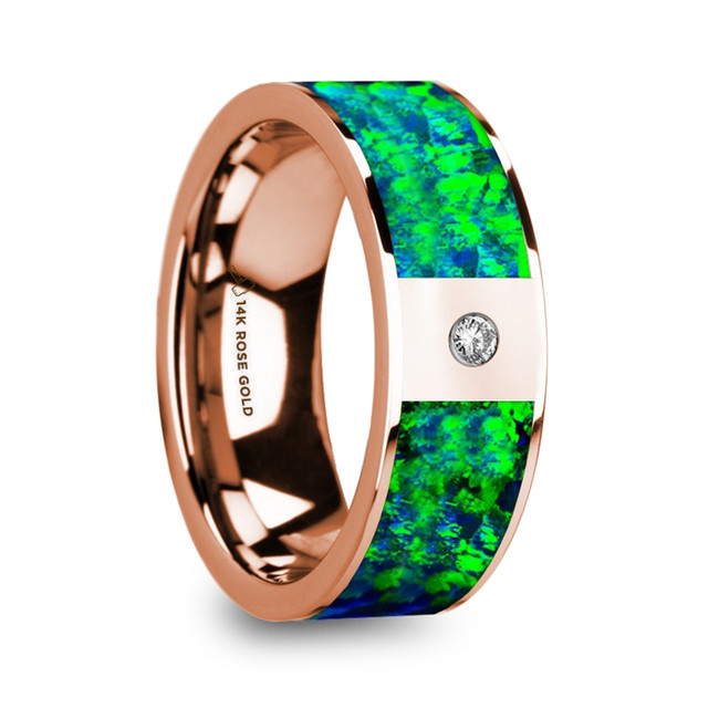 Autonous Men's Polished 14k Rose Gold and Green & Blue Opal Inlay Wedding Ring with Diamond from Vansweden Jewelers