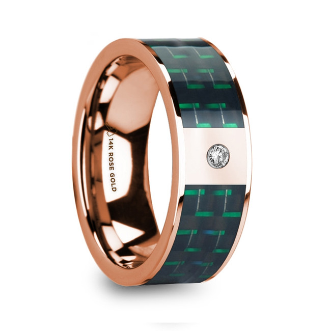 Borus Diamond Accented 14k Rose Gold Men's Wedding Ring with Black & Green Carbon Fiber Inlay from Vansweden Jewelers
