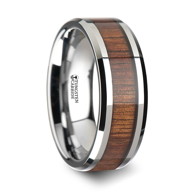 Deipyle Koa Wood Inlaid Tungsten Carbide Ring with Bevels from Vansweden Jewelers