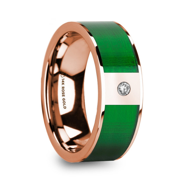 Demonassa Polished 14k Rose Gold & Textured Green Inlaid Men's Wedding Ring with Diamond Accent from Vansweden Jewelers