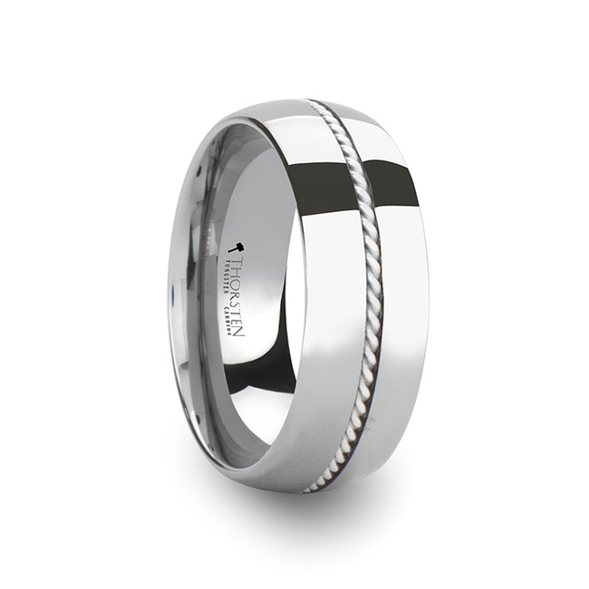 Gorgophone Domed Tungsten Carbide Ring with Braided Silver Inlay from Vansweden Jewelers