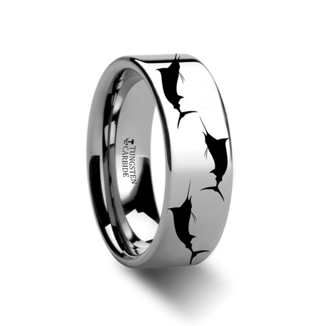 Minyas Fish Pattern Engraved Flat Tungsten Ring from Vansweden Jewelers