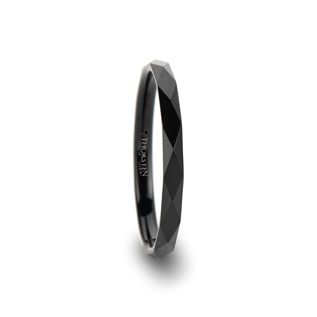 Asteropaios Diamond Faceted Black Tungsten Carbide Ring from Vansweden Jewelers