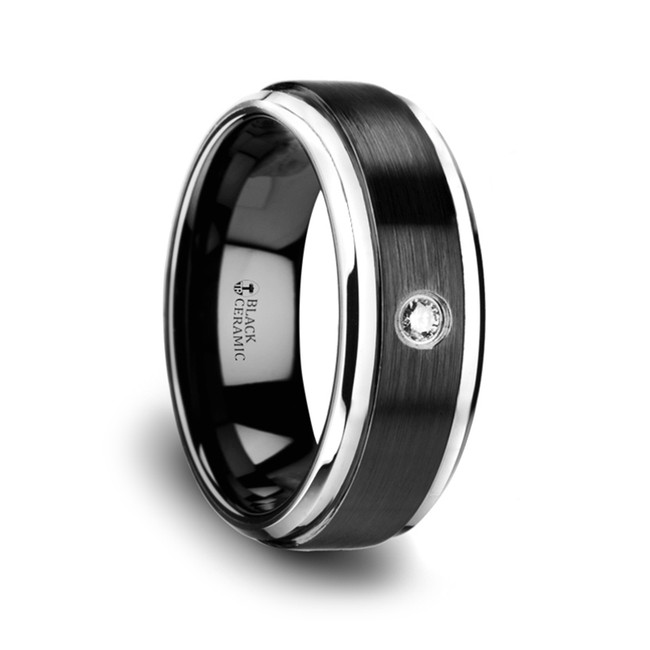 Cratos Black Ceramic Diamond Wedding Band with Polished Beveled Step Edges & Raised Brush Center from Vansweden Jewelers