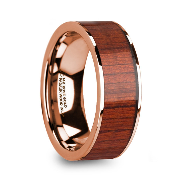 Icarius Polished Finish 14k Rose Gold Men's Wedding Band with Padauk Wood Inlay from Vansweden Jewelers