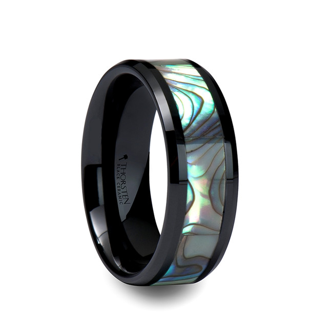 Tlepolemus Black Ceramic Ring with Shell Inlay and Beveled Edges from Vansweden Jewelers