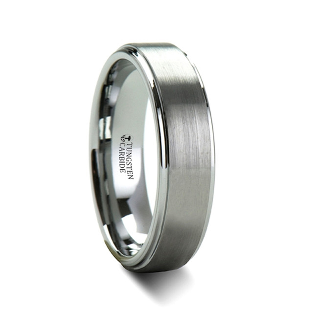 Eleius Brush Finish Tungsten Carbide Ring with Raised Center from Vansweden Jewelers