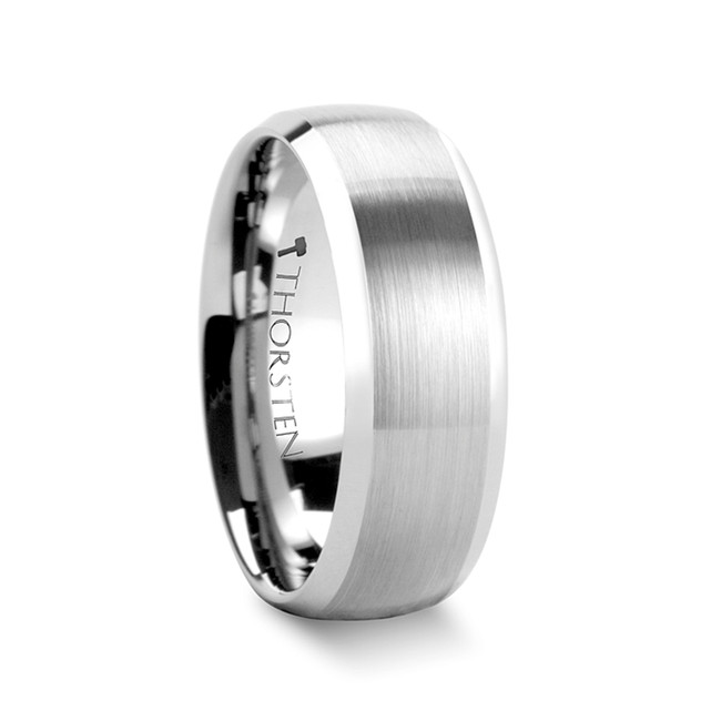 Aphrodite Rounded Brushed Finish Tungsten Carbide Ring with Polished Bevels from Vansweden Jewelers