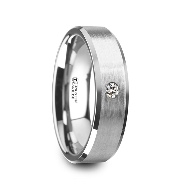 Ioke Brushed Finish Tungsten Carbide Wedding Ring with White Diamond and Beveled Edges from Vansweden Jewelers