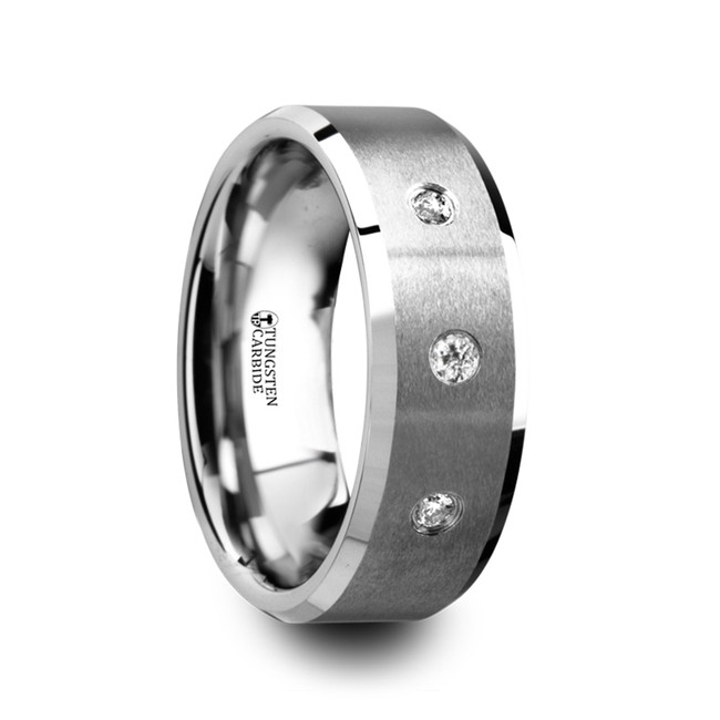 Phanes Satin Finish Tungsten Carbide Wedding Ring with 3 White Diamonds and Beveled Edges from Vansweden Jewelers
