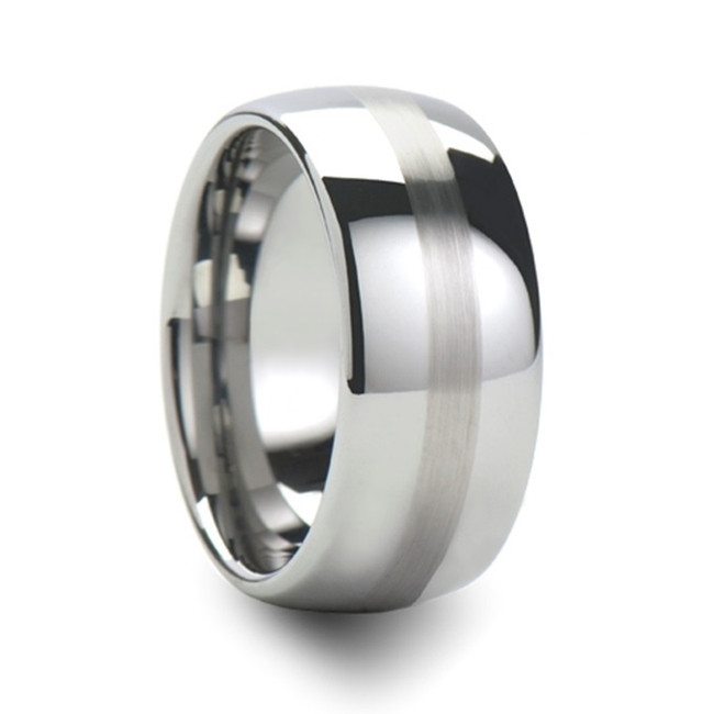 Atrax Round with Brushed Stripe Tungsten Carbide Ring from Vansweden Jewelers