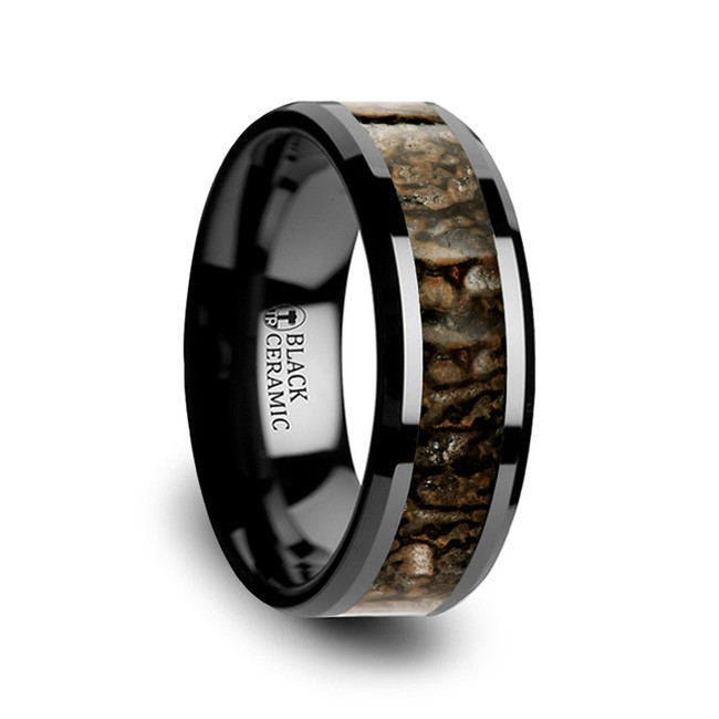 Rhea Dinosaur Bone Inlaid Black Ceramic Beveled Edged Ring from Vansweden Jewelers