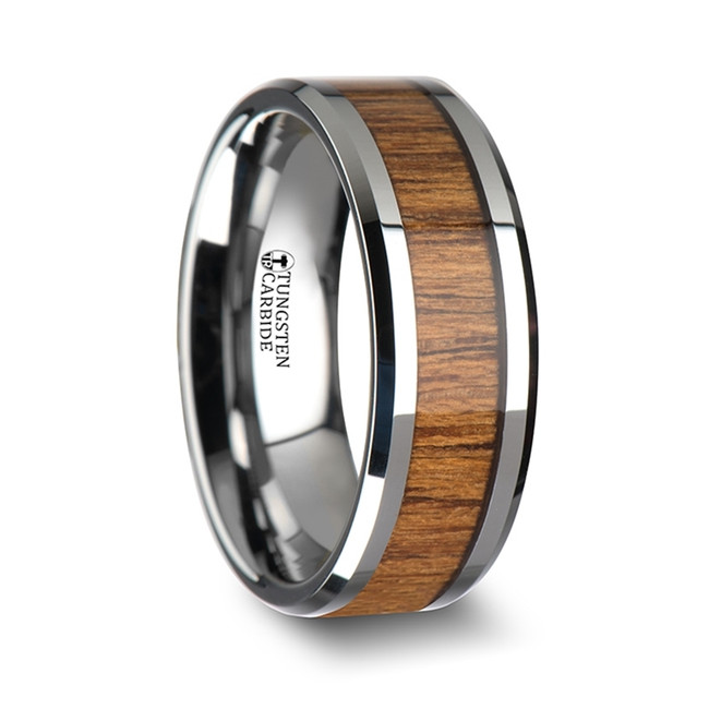 Aura Wood Tungsten Ring with Polished Bevels and Teak Wood Inlay
