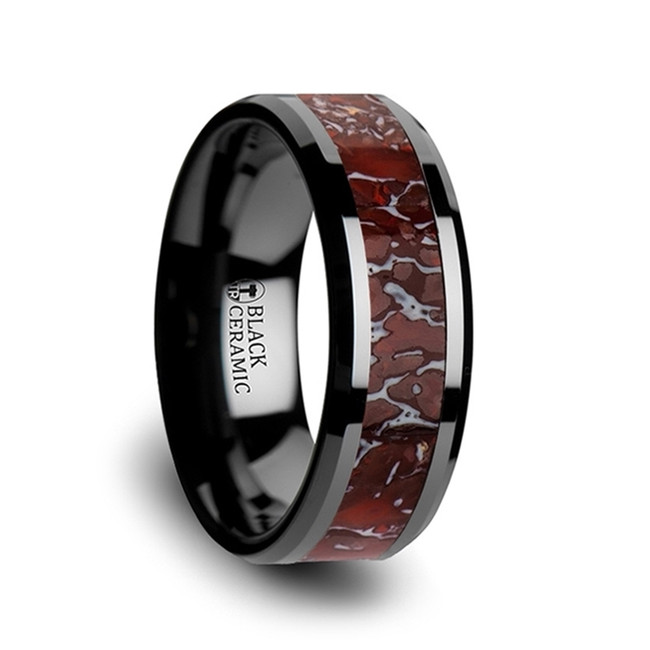 Eos Red Dinosaur Bone Inlaid Black Ceramic Beveled Edged Ring from Vansweden Jewelers