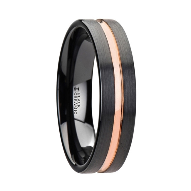 Eurybia Black Ceramic Wedding Band With Rose Gold Groove from Vansweden Jewelers