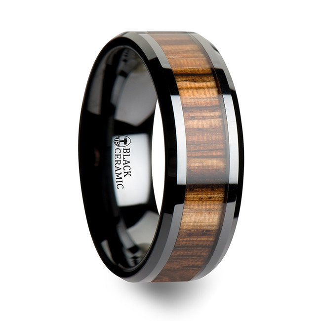 Atropos Black Ceramic Ring with Beveled Edges and Real Zebra Wood Inlay from Vansweden Jewelers