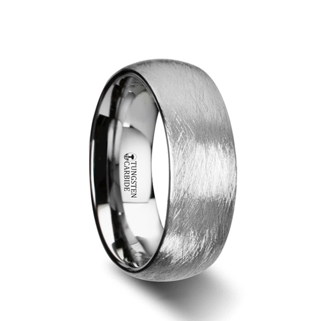 Eidothea Domed Tungsten Carbide Ring with Deep Texture Brushed Finish