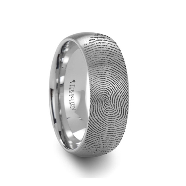 Angelos Fingerprint Engraved Domed Tungsten Brushed Ring from Vansweden Jewelers