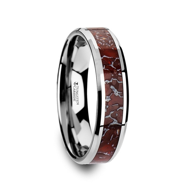 Carya Red Dinosaur Bone Inlaid Tungsten Carbide Beveled Edged Ring from Vansweden Jewelers