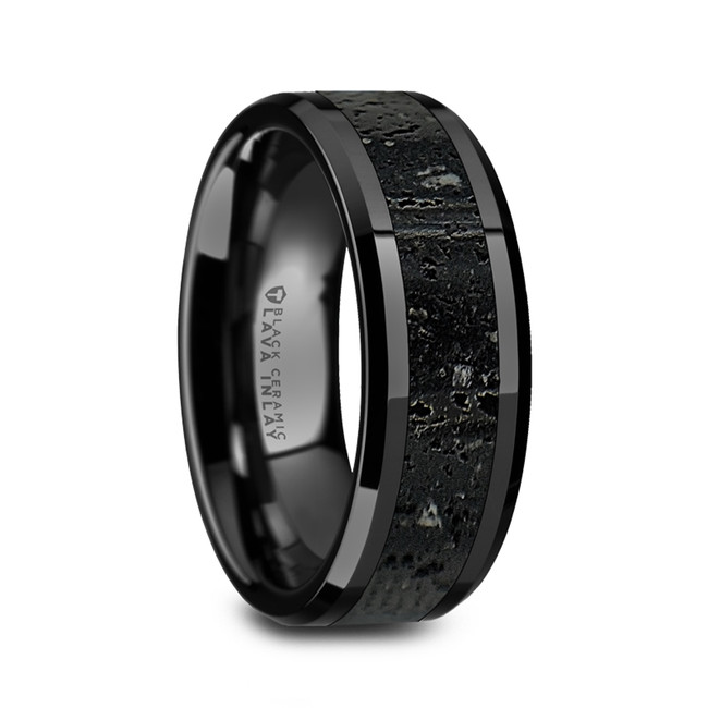 Alcibie Men's Polished Black Ceramic Wedding Band with Black & Gray Lava Rock Stone Inlay & Polished Beveled Edges