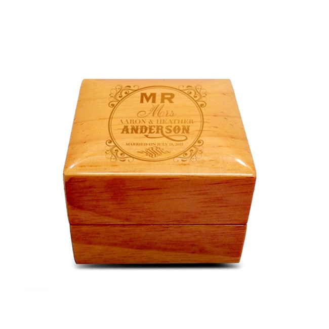 Customized Natural Tone Wood Wedding Ring Box