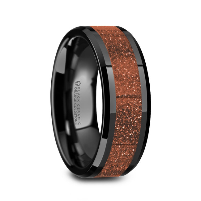 Gration Men's Black Ceramic Polished Wedding Band with Orange Goldstone Inlay from Vansweden Jewelers