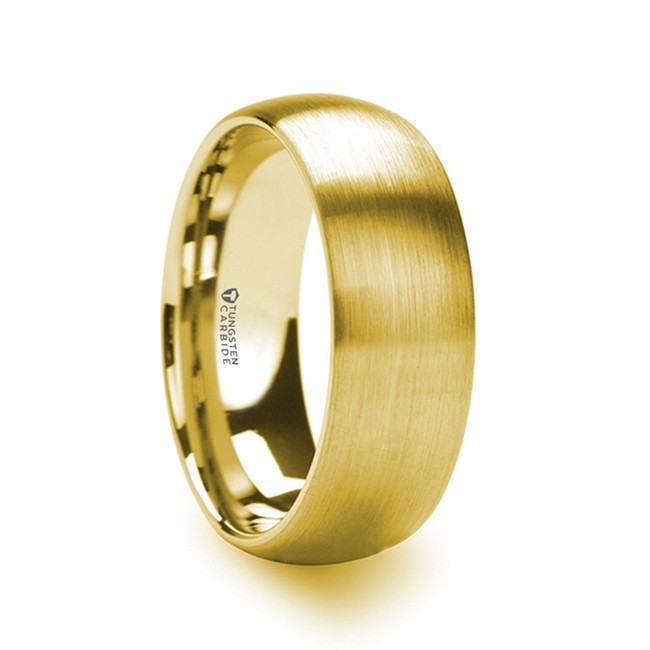 Cerberus Gold Plated Tungsten Domed Ring with Brushed Finish from Vansweden Jewelers