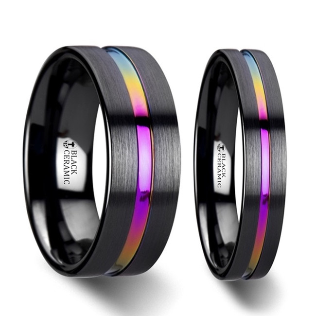 Danaides Rainbow Grooved Brushed Black Ceramic Couple's Matching Wedding Band Set from Vansweden Jewelers