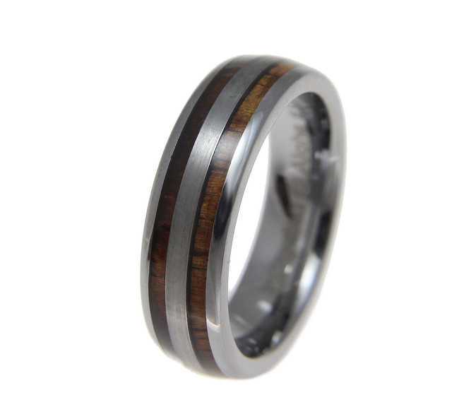 Domed Tungsten Wedding Band with Hawaiian Koa Wood by Jewelry Hawaii