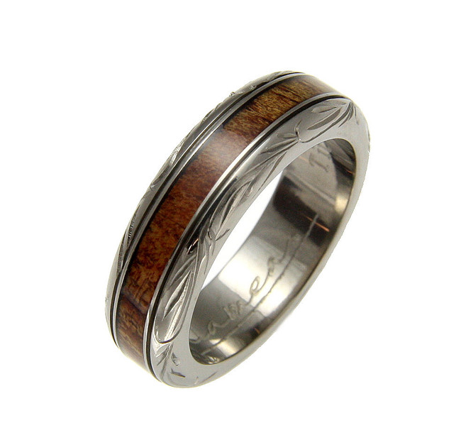 Hawaiian Koa Wood Inlaid Titanium Wedding Band with Wave Scroll by Jewelry Hawaii