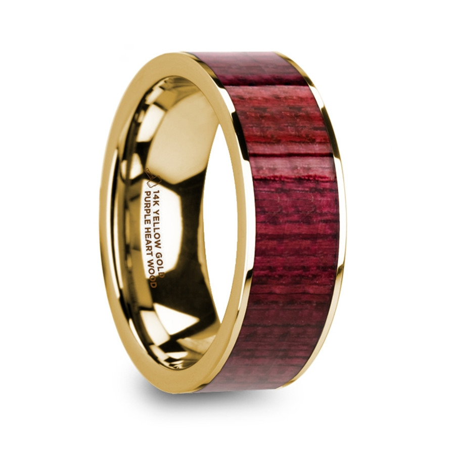 The Acallaris Polished 14k Yellow Gold Men's Wedding Ring with Purpleheart Wood Inlay from Vansweden Jewelers