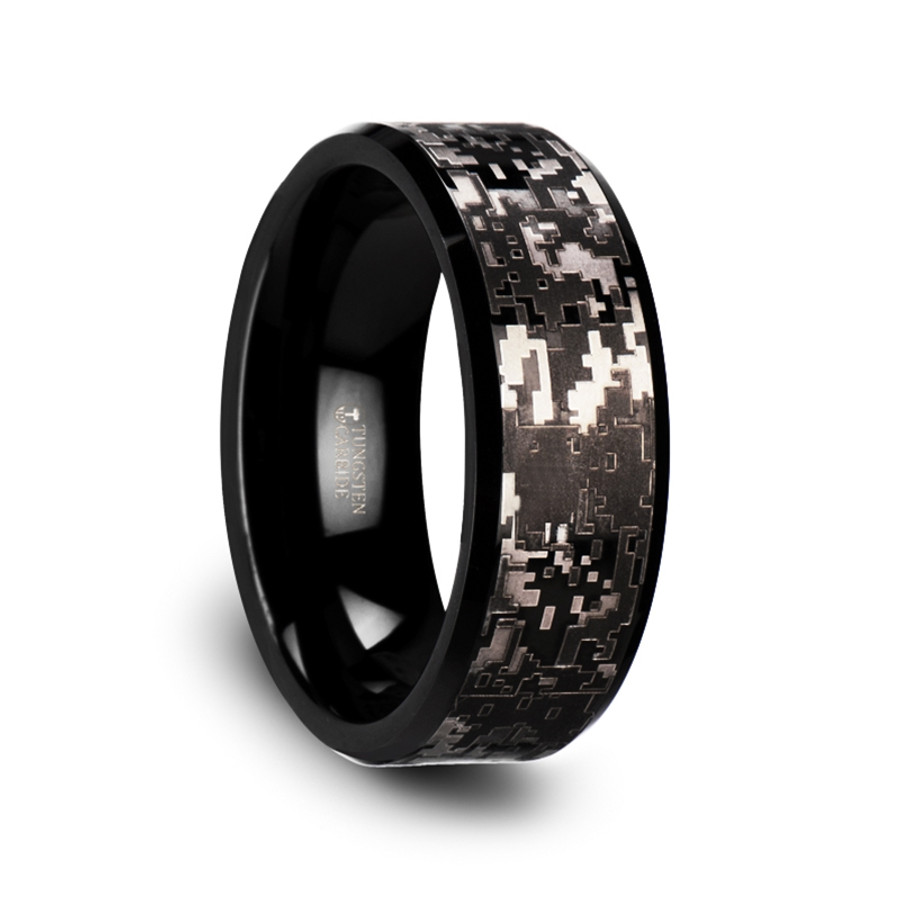 the cyparissus black tungsten carbide wedding ring with engraved black digital camouflage from vansweden jewelers - Tungsten Carbide Wedding Rings